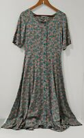 Two Tone Women's Blue Floral Long Dress Size L Front Button  Short Sleeve