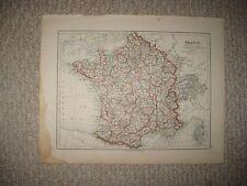 ANTIQUE 1890 FRANCE NETHERLANDS BELGIUM LUXEMBURG MAP WINE REGION INTEREST PARIS