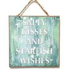Wooden Wall Plaque with Caption  Salty Kisses and Starfish Wishes -Nautical Sign