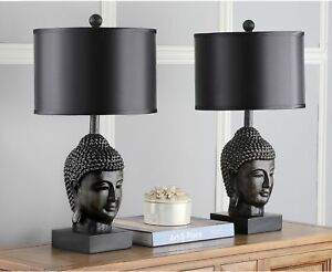 "Set of 2 Buddha Head Table Lamps, Dark Gold Base, Black Shade, Zen Chic ~ 24.5""H"