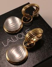 LALIQUE NERITA DOMED FROSTED CLEAR CRYSTAL GOLD PLATED DANGLE CLIP ON EARRINGS