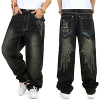 Men Jeans Relaxed Fit Big Tall Hip Hop Pants Embroidery Black Plus Size W30-W46