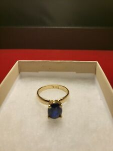 2.90 Carat 14K Midnight Blue Sapphire & Yellow Gold. Engagement & All Occasion