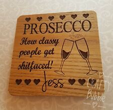 PERSONALISED ENGRAVED WOODEN PROSECCO COASTER