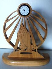 "Handmade Praying Hands Sun Clock Laser Etched Wooden (Oak?) 8 1/4"" Tall"