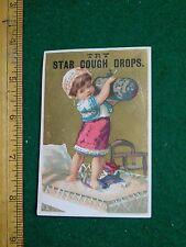 1870s-80s Star Cough Drops Kenyon Potter & Co Girl Standing Bed Trade Card F33