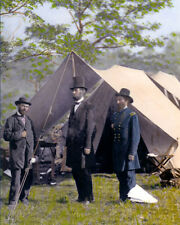 "PRESIDENT ABRAHAM LINCOLN CIVIL WAR ANTIETAM 1862 8x10"" HAND COLOR TINTED PHOTO"
