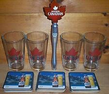 MOLSON CANADIAN TAP HANDLE 4 BEER PINT GLASSES & 30 COASTERS NEW