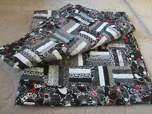 """Black & White & Red Handmade Night & Day Rail Fence Quilted Throw 52"""" square"""
