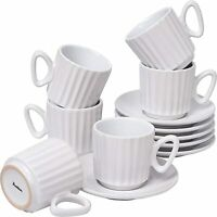 Bruntmor Ceramic Coffee Cups & Saucers Set of 6 Ribbed Design Mugs 4 Oz White