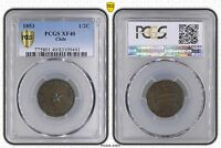 CHILE - 1/2 CENTAVO COIN 1853 YEAR KM#126 PCGS GRADING XF40