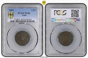 CHILE 1/2 CENTAVO COIN 1853 YEAR KM#126 PCGS GRADING XF40