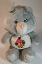 Vintage 1983 Kenner Care Bear Plush Grams Bear Gray Rosy Cheeks Pink Flower