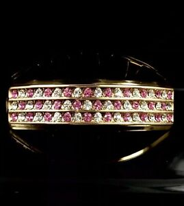 14k Gold GP TOP 6 Tooth Grillz iced girls Hiphop CHECKERED PINK Grills Bling out