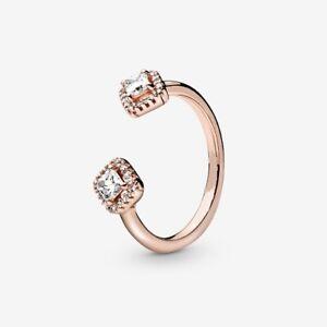 9US 58EU S925 Silver 14k Rose Gold Pl Ring Sparkling Squares Jewelicous Designs