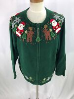 Heirloom Collectibles Cardigan Sweater Santa Christmas Reindeer Green Womens XL