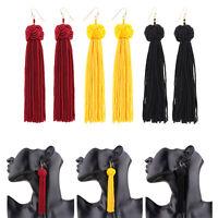 Vintage Fashion Women Bohemian Fringe Boho Long Tassel Hook Drop Dangle Earrings