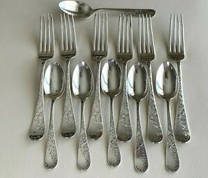 Antique Sterling Silver W. A. Chamberlin Forks and Teaspoons 401 Grams