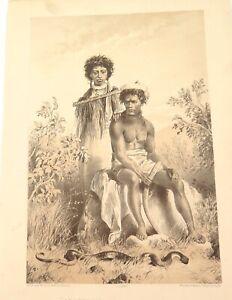 .A 100% GENUINE 1879 HISTORY OF AUSTRALASIA LITHOGRAPH ABORIGINES & CARPET SNAKE