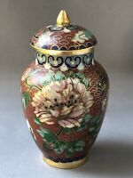 Small Oriental Cloisonne Decorated Urn Lidded Pot Metal Flower Bird Decoration