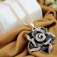 Womens Enamel Black White Camellia Flower Crystal Pendant Necklace Charm Jewelry