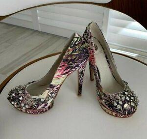 RIVER ISLAND Rhinestone Stud Evening Sexy Heels party shoes 38 EUR 5 UK 7 AU