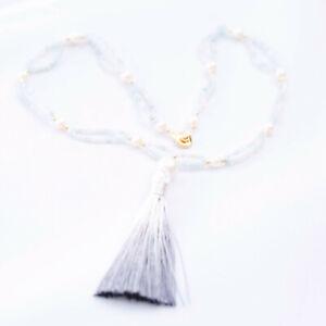 No139 Luxury design 2.5mm Morganite & Pearl necklace PEARL tassel PENDANT