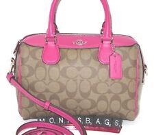 Coach F32203 Signature Mini Bennett Satchel Crossbody Handbag Khaki Pink NWT