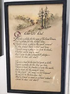 """Vintage Original Framed R. B. Brown Poem / Motto """"Dear Old Dad"""" 9 1/2"""" X 14 3/4"""""""