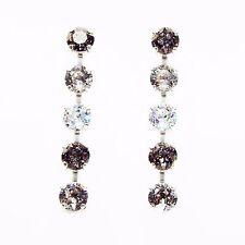 Damen Ohrringe Swarovski Kristalle 925 Silber Versilbert Schwarz Weiß Silber