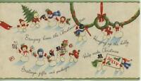 VINTAGE CHRISTMAS SNOWMAN SNOW GIRL FAMILY HOLLY TREE WREATH CARD GREETING CARD