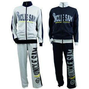 Uncle Sam Trainingsanzug grau oder schwarz Sweatjacke und Jogginghose bis 6XXL
