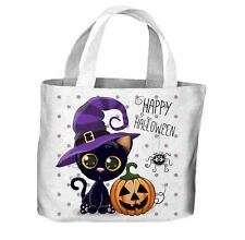 Happy Halloween Cat Cartoon All Over Tote Shopping Bag For Life