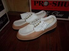 New Pro Shu Golf Shoes Womens White Brown Front Flap Size 5, 6 or 7 USA