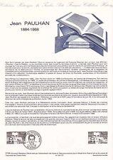Document Philatélique Timbre 1er Jour : 27/10/ 1984 - Jean Paulhan