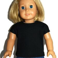 """BLACK RIBBED KNIT TEE SHIRT - Doll Clothes - fits 18"""" American Girl Dolls"""