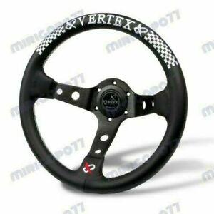 White Stitch 330mm Vertex Leather Deep Dish Steering Wheel For MOMO Racing steer