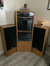 Vintage Onkyo Stereo System & Wood Cabinet With Glass Doors