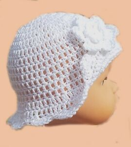 HANDMADE CROCHETED BABY GIRLS WHITE SUN HAT christening 100% cotton flower brim