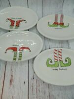 Rae Dunn Holiday Elf Boots Merry Christmas Cheer Magic Oval Snack Plates 2017
