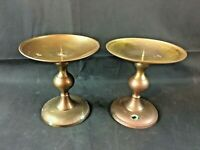 Pair of Vintage Large Brass Pillar Candle Holders