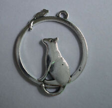 20pcs Retro style Tibet silver Cat and mouse alloy Charm pendant 32x26 mm