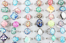 Wholesale Lots MIxed 5PcsAbalone Shell Gemstone Tibet Silver P Women Rings FREE