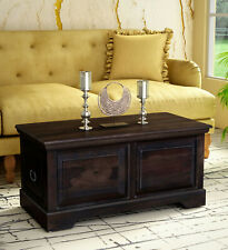 Antqiue Solid Wood Trunk Box Table in Warm chestnut Home Decor