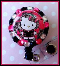 Zebra Hello Kitty Peace Sign ID Badge Reel Holder Rhinestone Bling Nurse Gift
