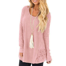 UK Womens Autumn Lace Splice Casual Long Sleeve T shirt Ladies Tops Blouse Size