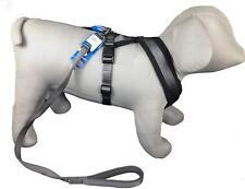 Dog Fleece Soft Harness M/L 50-80cm & Lead Set Padded handle Graphite Grey Set