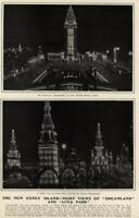 Coney Island Dreamland Luna Park Night View 1904 great unusual old print
