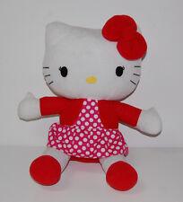"Hello Kitty 14"" Plush Animal Cat Red Polka Dot Dress Bow Stuffed Sanrio"