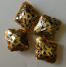 4 Ornate Diamond-shaped Cloisonne Character Beads,Black/Gold/Amber 17 x 20 mm